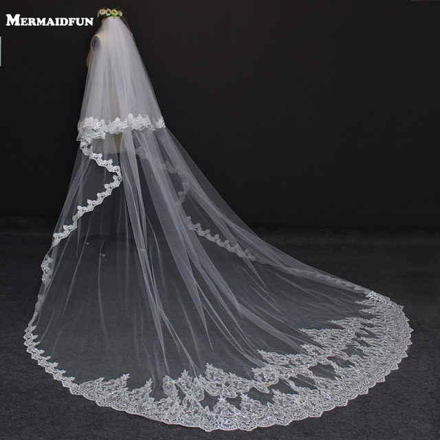 2019 New Style Two Layers Full Edge with Lace Luxury 3 Meters Long Wedding Veil with Comb White Ivory Bridal Veil Velos De Novia