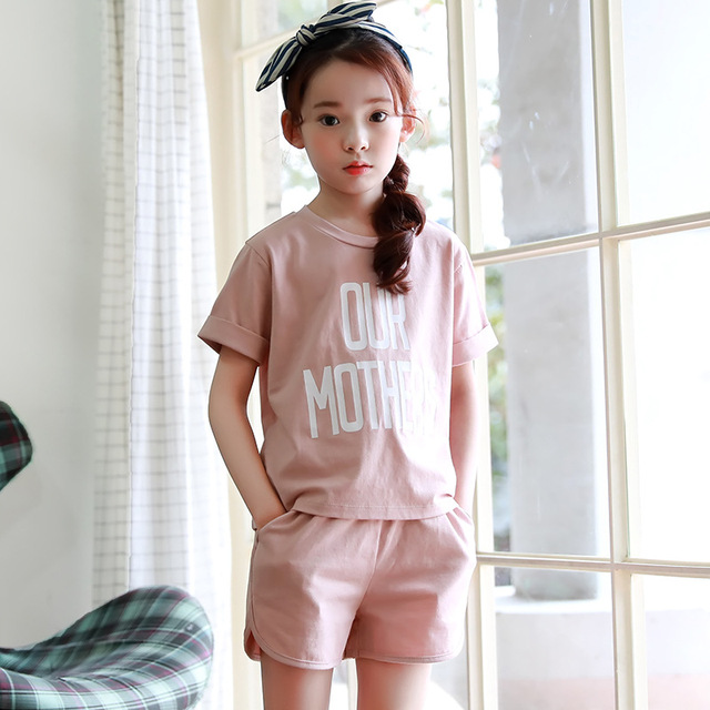 cotton little teenagers kids girls sport suits set girls clothing sets 2017 new summer girls clothes tops shorts 2 pieces set
