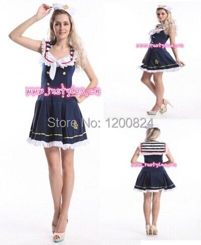 Navy Sailor Blue Girl Uniform Ladies Rockabilly Pin Up Fancy Dress Costume /& Hat