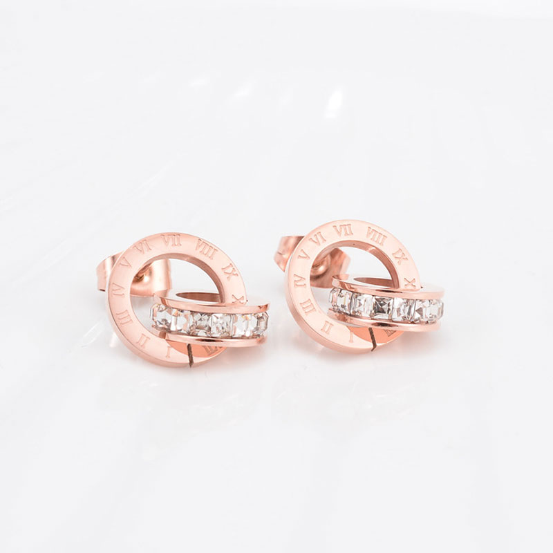 Top Brand Hight Quality Titanium Steel Double Wound Roman Numerals Crystal Stud Earrings For Women Gift Jewelry 11