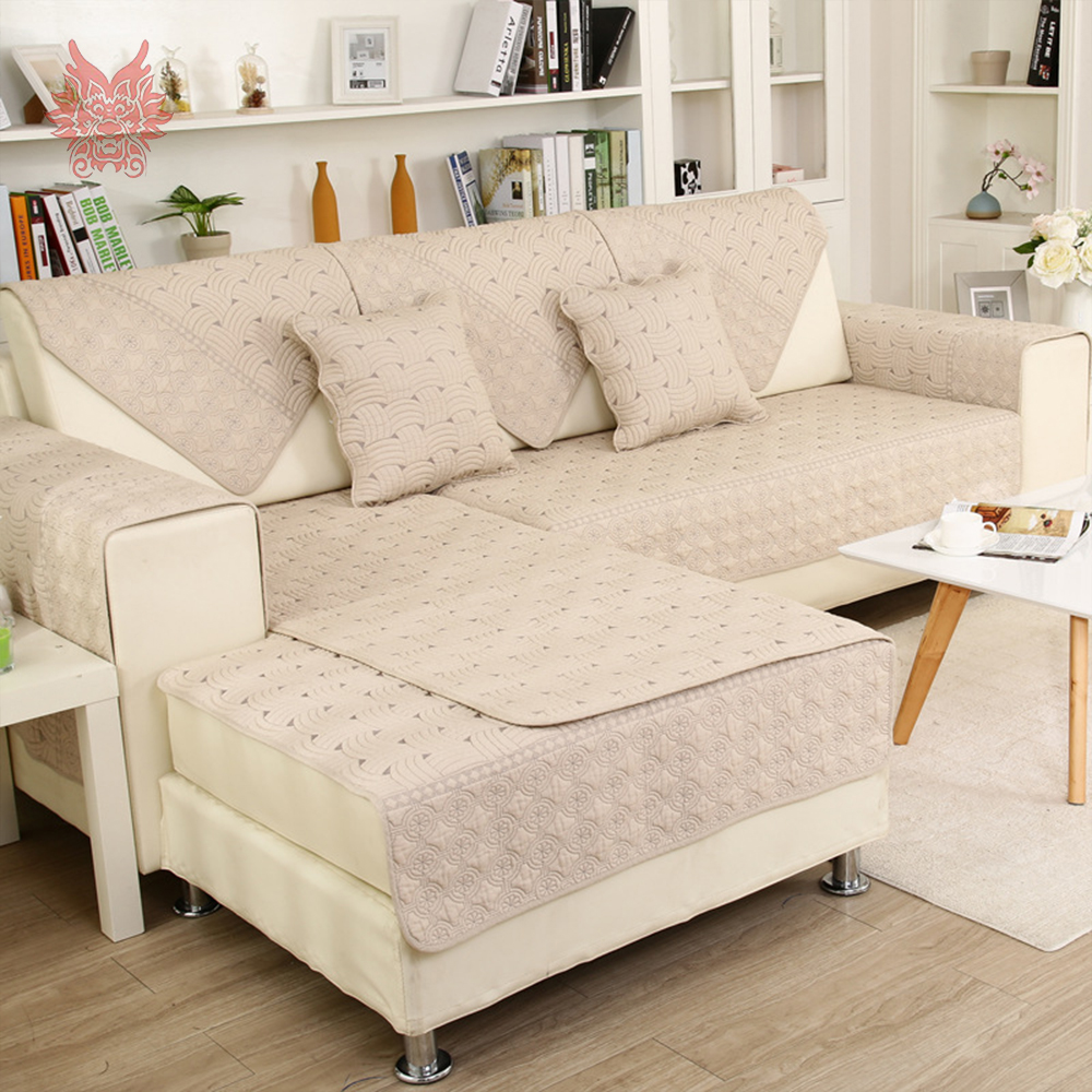 Beige grey coffee stripe embroidery quilted cotton sofa cover for ...