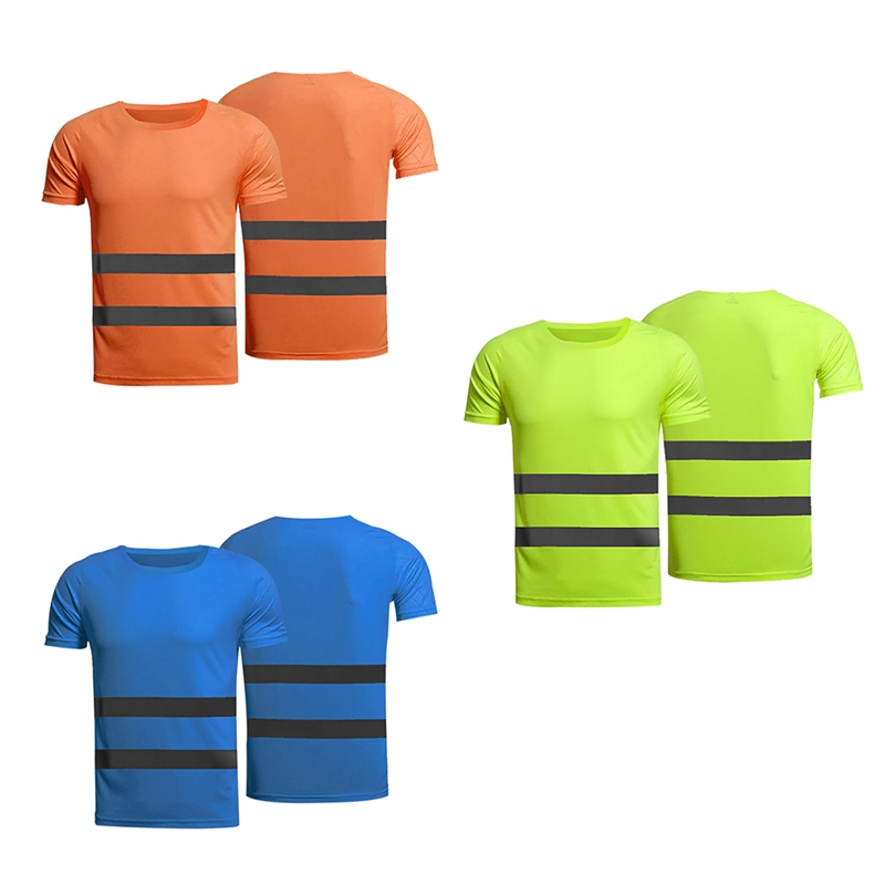 Fitness Sports Running T-shirt Fluorescent Yellow Orange High Visibility Work T-shirt Breathable
