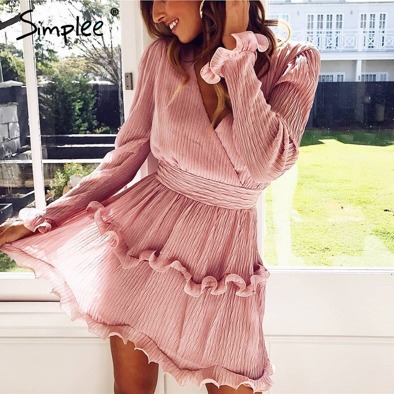 Simplee Elegant pleated chiffon women dress summer 2019 Long sleeve v neck ruffles white dresses Casual mini dress vestidos