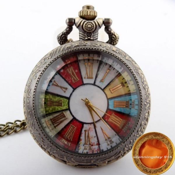 Бронзовые Красочные колеса римские карманные часы ожерелье подвеска цепь Винтаж стимпанк кварцевые часы мужские relogio de bolso - Цвет: with box