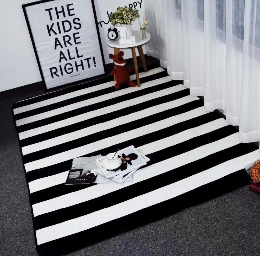 Simple black white stripes carpets for living room home - Black and white living room rug ...