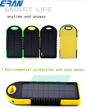 ERAN 5000mAh Outdoor Portable Solar Power Bank with Dual USB Emergency External Battery Charger for Samsung iPhone Smartphones