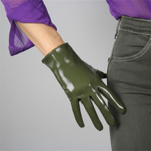 Patent Leather Black Short Ladies Gloves. Fashion Simulation 21cm Unlined Red Finger Gloves TB34