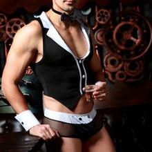 Bew פורנו גברים הלבשה תחתונה סקסי חם ארוטי זכר משרת קוספליי סקסי שחור תחתונים תפקיד לשחק הלבשה תחתונה פורנו תחפושות