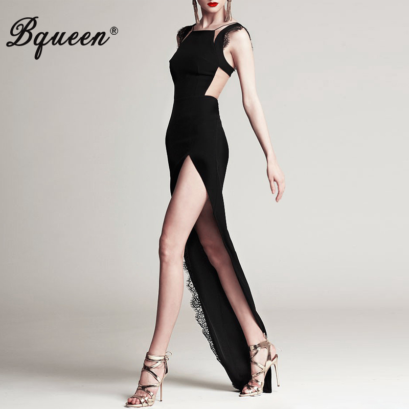 Bqueen 2017 New Arrive Hot Sell Fashion Black Long Women Šaty Lace Mesh Patchwork High Split Bez rukávů Bandage Maxi Dress