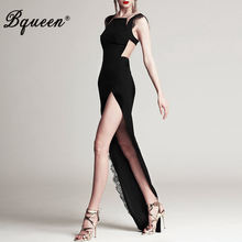 Black Long Women Dresses Lace Mesh Patchwork High Split Sleeveless Bandage Maxi Dress