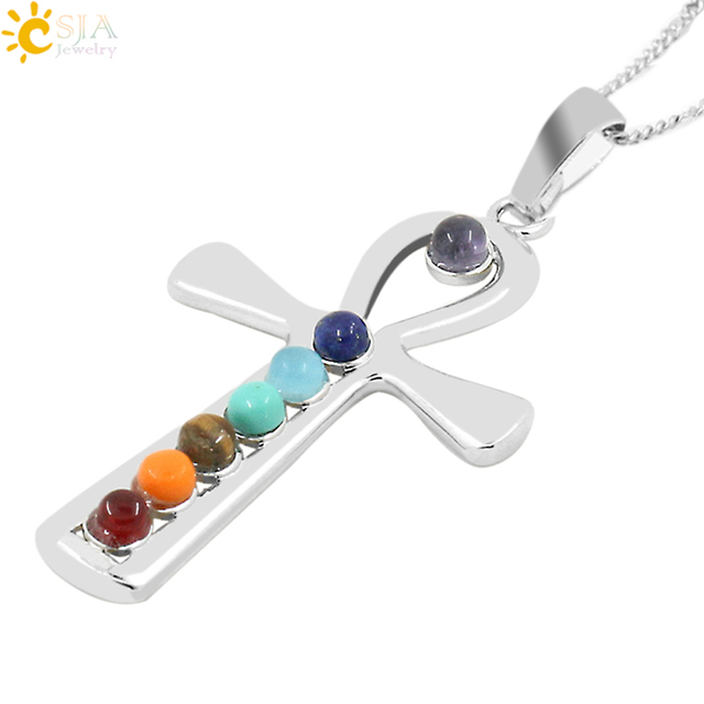 CSJA 2 pcs Reiki Pedras Chakra Yoga 7 Símbolos Amuleto Ankh Símbolo Em Forma de Saúde Sete Colar de Pingente de Pedra para As Mulheres presente E029