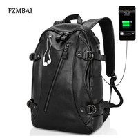 USB Design Men Black PU Leather Backpack High Qualty Casual Large Capacity Backpacks For School Travel