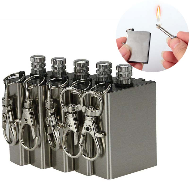 outdoor emergency survival portable stainless steel waterproof camping lighter fire starter