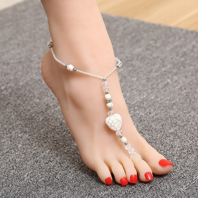 Lovely White Heart Beads Design Decoration Anklets S Pretty Summer Foot Brilliant Crystal Jewelry