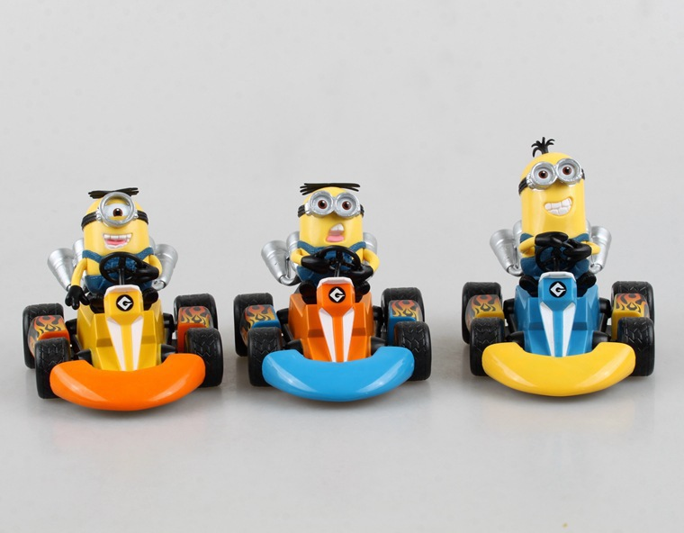 2015 Kart Pull Car Toys Dolls Boxed Quality PVC Figures Kids Child Toys 3pcs/set Christmas gifts Free shipping