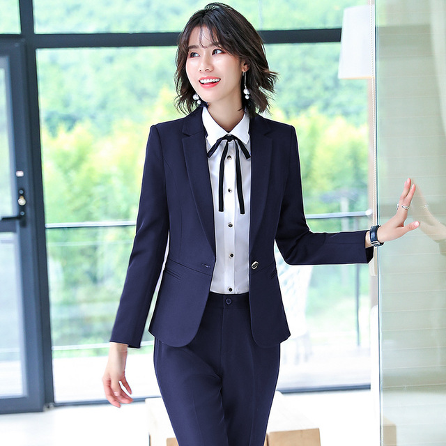 Winter formal women's female business clothes pants suits office sets office ladies jacket blazer trouser suit set for two piece