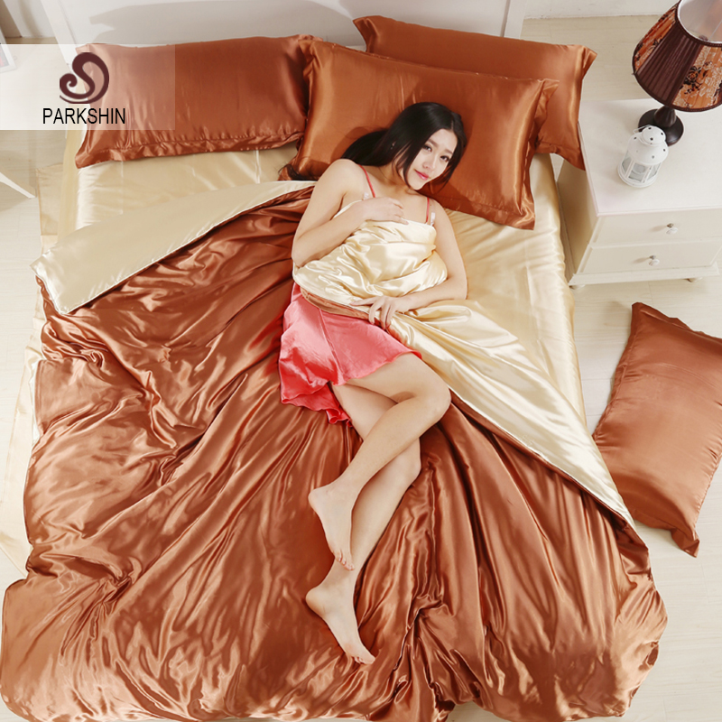 Parkshin Luxury Coffee Light Yellow Silk Satin Bedding Set Soft Duvet Cover Queen King Size Home Textiles Adult Decor Bed Linen