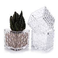 T4U 3.1 inch Crystal Flower Glass Square Vase Decorative Cube Shape No.1 (Set of 3)