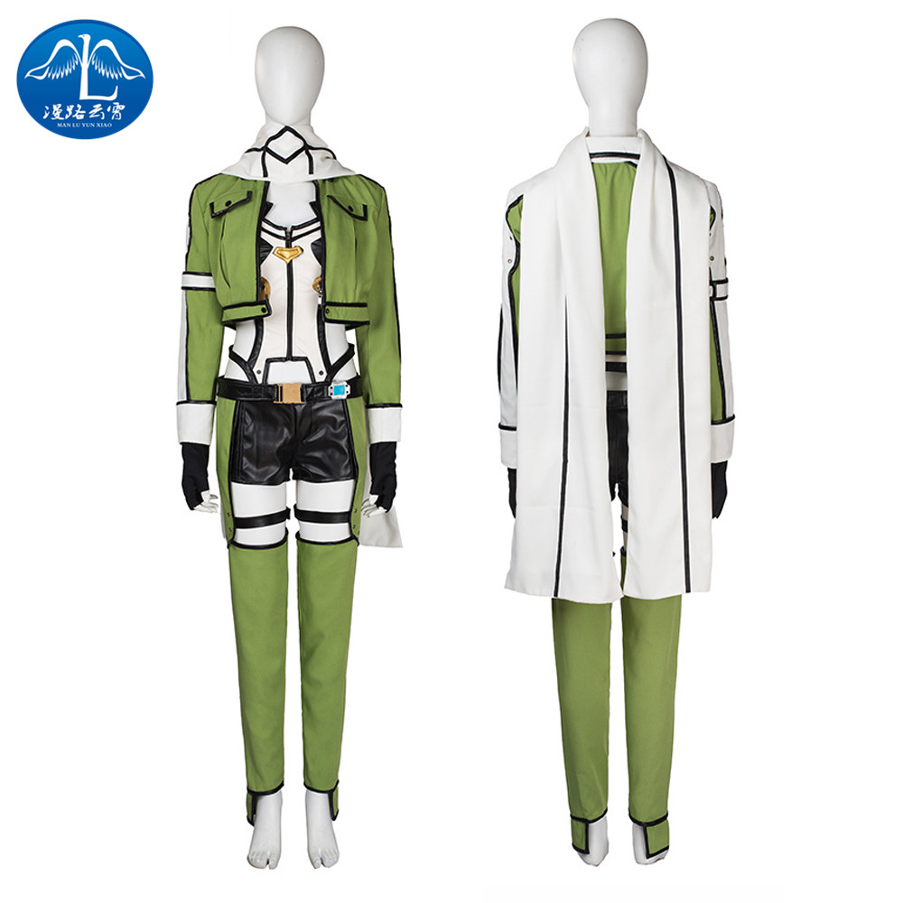 MANLUYUXIAO Sword Art Online Asada Shino Roleplay Cosplay Costume Women Green Full Suit Cosplay Costume Coat Pants Free Shipping