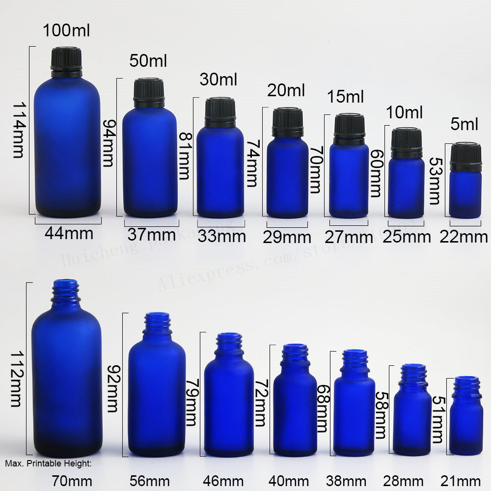 200pcs Frost Blue Glass Essential Oil Bottles Vial Container with Orifice Reducers Plastic Lids 5ml 1