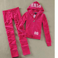 Spring / Fall / 2017 Women's Brand Velvet fabric Tracksuits Velour suit women Track suit Hoodies and Pants Rose red