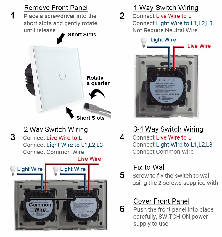 Touch Switch 1 Gang 2 Way Crystal Touch Light Switch Wall Switch by