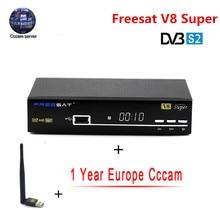 V8 Súper 1 Años Europa Servidor Cccam DVB-S2 HD Freesat Cccam Receptor de satélite Completa 1080 P Italia España Árabe Cline USB Wifi