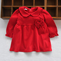 Girls Baby red blouse Long Sleeve 1 Year Baby Girl Birthday Dress Cotton Bow Dot Newborn T shirt Baby Party clothes