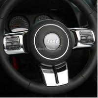 free shipping slilver Steering Wheel Cover Trim for 2011 2016 Jeep Wrangler Jk Sahara Rubicon & Compass & Patriot Set