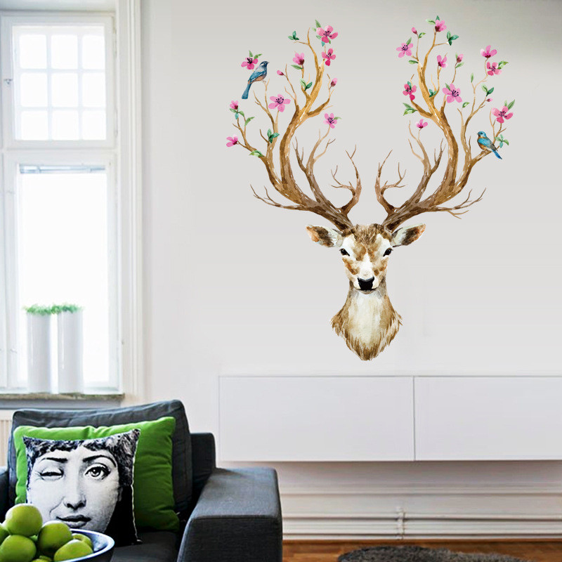 Happy Gifts 3D Plum Flower Deer Wall Stickers For Kids Rooms Living Room Bedroom Home Christmas Decor DIY Decoration