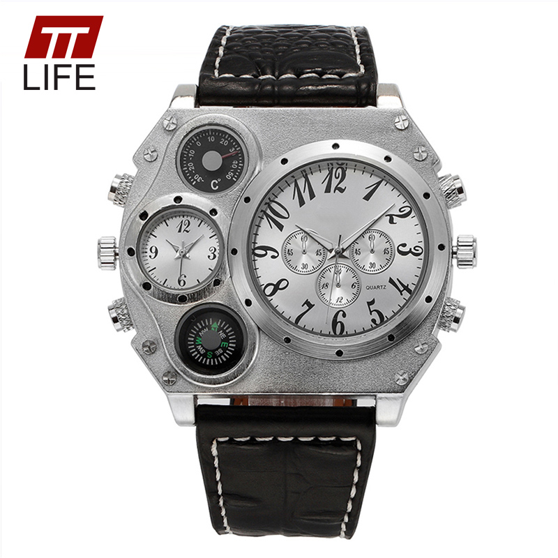 2016 TTLIFE NEW Men's Military Quartz Wrist Watches Leather Strap Compass Thermometer Decoration 2 Time Zone Tonneau Dial Watch от Aliexpress INT