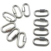 Multifunctional 304 Stainless Steel Carabiner Oval Screwlock Quick Link Lock Ring Hook M5 Pack Of 10