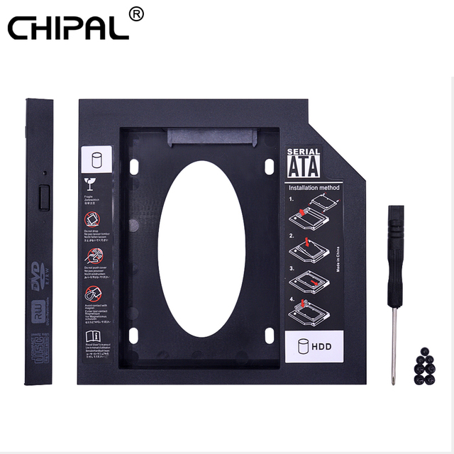 CHIPAL Universal 2nd HDD Caddy 12,7 MM SATA 3,0 para carcasa de disco duro de 2,5 pulgadas para ordenador portátil CD-ROM DVD-ROM Optibay