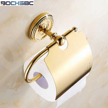 BOCHSBC Vergoldet Geschnitzt Tissue Halter Europäischen Badezimmer Rollenhalter Kupfer Handtuchhalter Goldene Papier Toilette