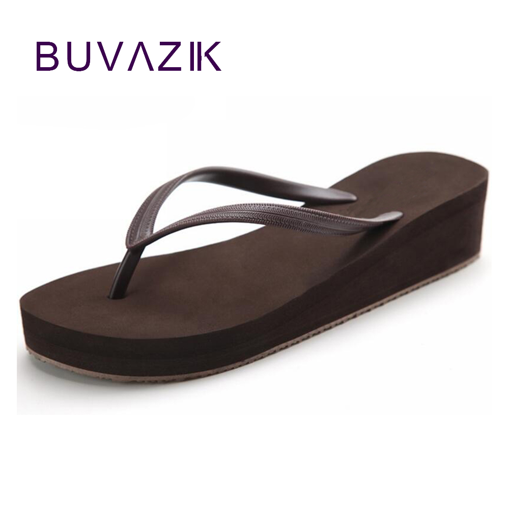 30cadf28df36 2018 women simple beach Flip Flops Summer high heel female shoes with platform  breathable large big size 41 -in Flip Flops from Shoes on Aliexpress.com ...