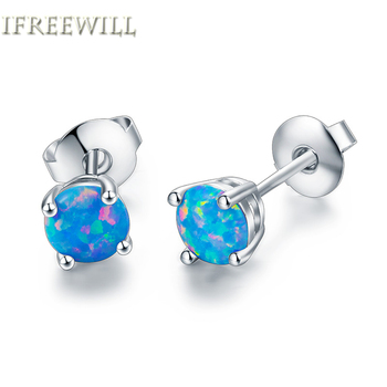 Sky Blue Opal Stud Earrings For Woman IFREEWILL 6mm Round Gemstones Fine Jewelry Product Christmas