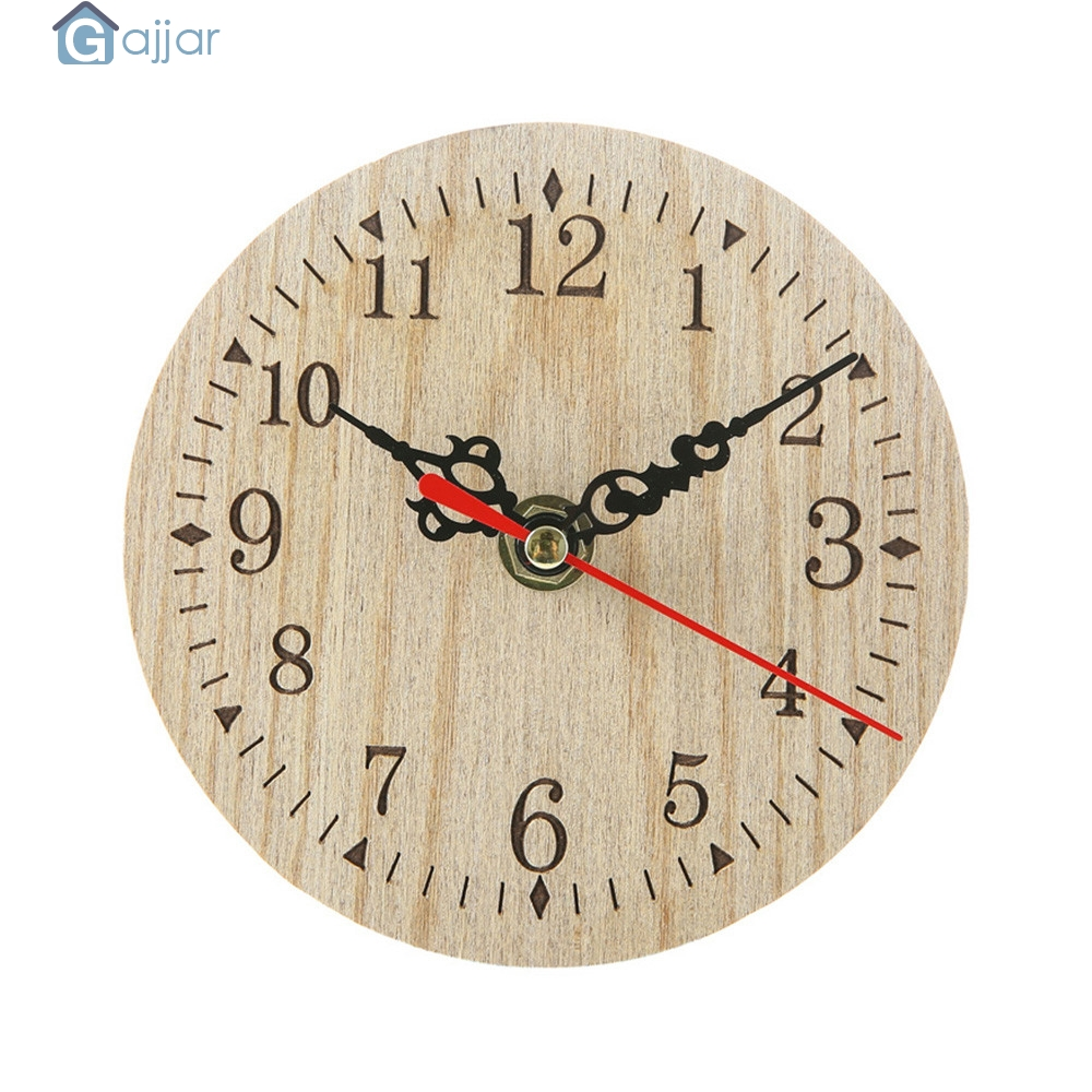 Vintage Rustic Wooden//3D Wall Clock Kitchen Antique Shabby Chic Retro Home Decor