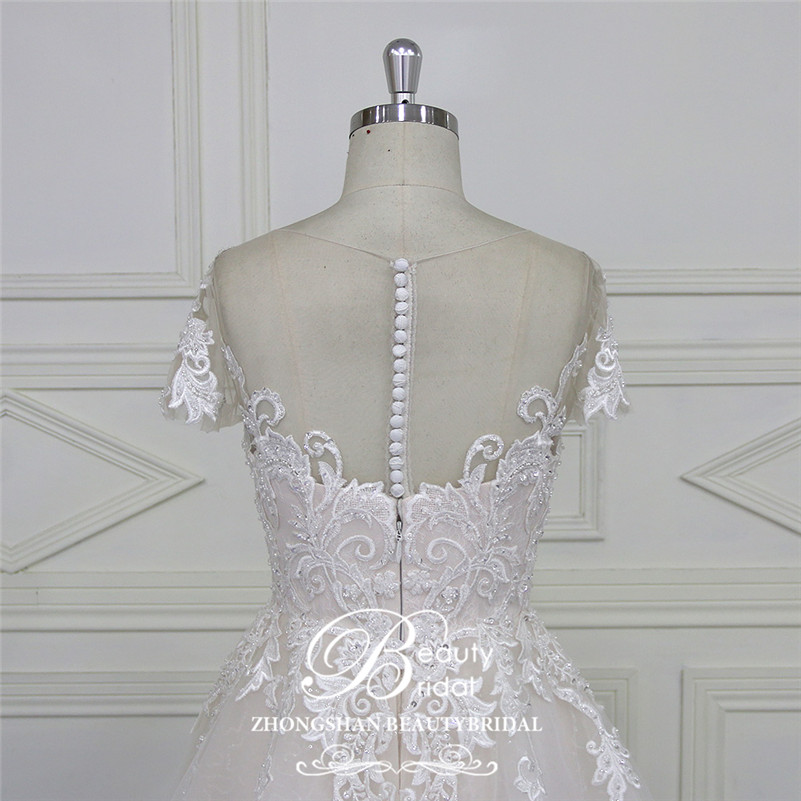 Image 5 - Beautybridal Custom made lace Beads Wedding Dresses round illusion neckline wedding gown short sleeves Vestido de Noiva LS706Wedding Dresses   -