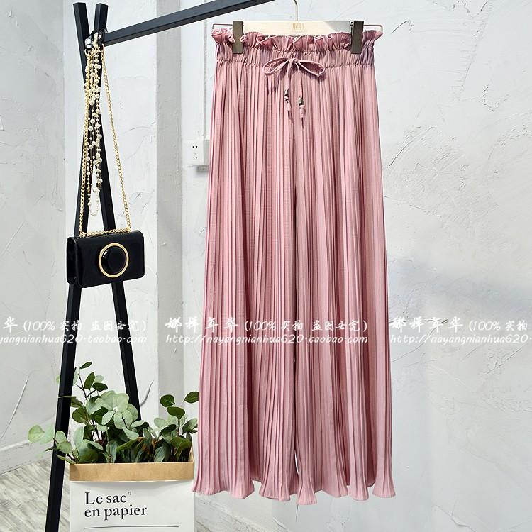 2019 Summer High Waist Lace Up Waist Pleated Pants Women Loose Wide Leg Chiffon Pants Lady Lace Up Waist Ankle Length Pants 40