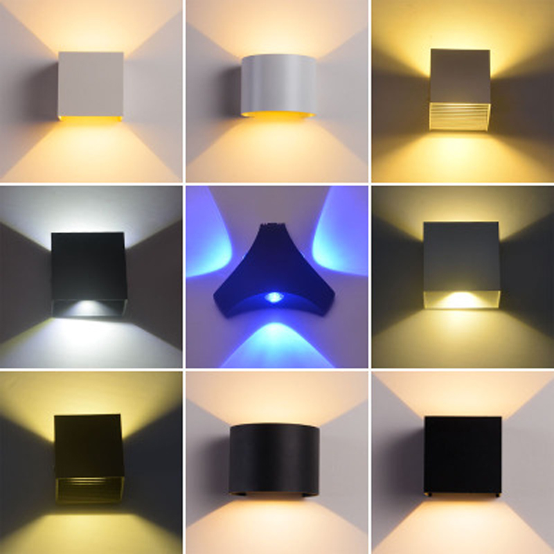 COB outdoor wall lamp aluminum waterproof LED wall lamp blade angle square shell round shell 12W stairs aisle lights globe shaped aluminum shell precise compass
