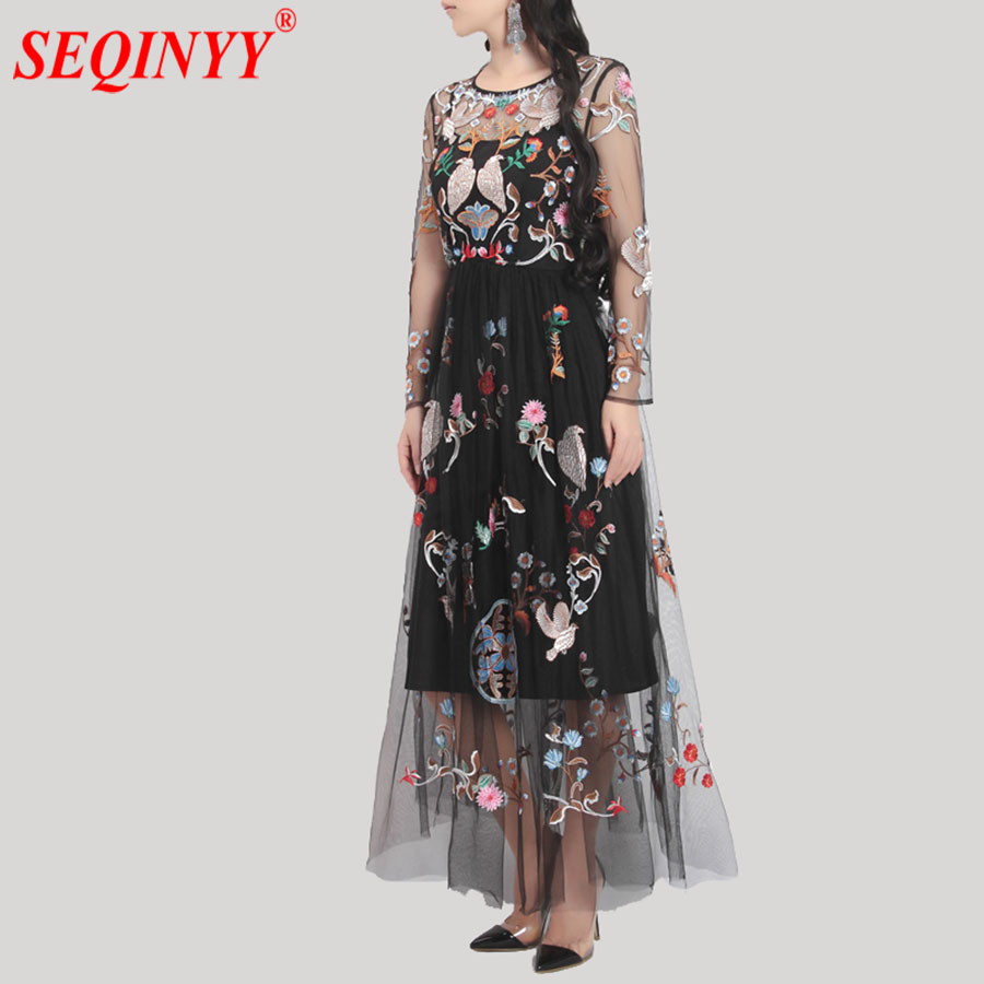 Heavy Work Embroidery Dress For Women 2018 Spring Black Beige Birds Flowers Mesh Embroidery Large Swing Perspective Long Dresses
