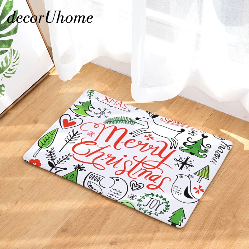 decorUhome Christmas Tree Waterproof Anti-Slip Doormat Letters Joy Carpets Bedroom Rugs Decorative Stair Mats Home Decor Crafts