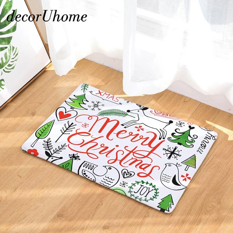 decorUhome Christmas Tree Waterproof Anti-Slip Doormat Letters Joy Carpets Bedroom Rugs  ...
