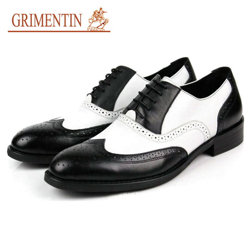 Black and White Mens Shoes Dress Genuine Leather Oxford Shoes For Men Casual Formal Luxury Wingtip Men Brougues Oxfords Shoes hot sale luxury brand men classic oxfords italian mens leather dress shoes new men formal shoes black white patch flowers 39 46