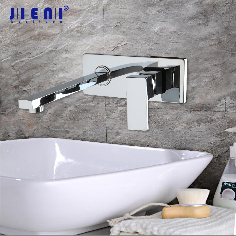 Luxury Golden Polished Wall Mounted Tap Bathroom Basin Sink Faucet Chrome Brass Finish Hot Cold Mixer
