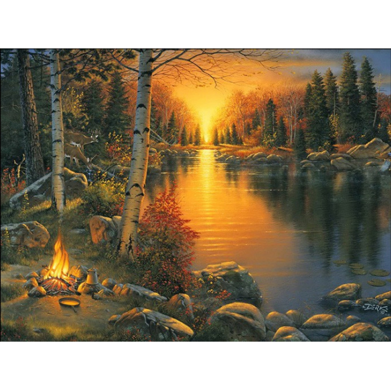 Diy Diamond Painting The Bonfire On The Lake Full Diamond Embroidery Decorative Beauty Of The Forest For Living Room A Good Gift