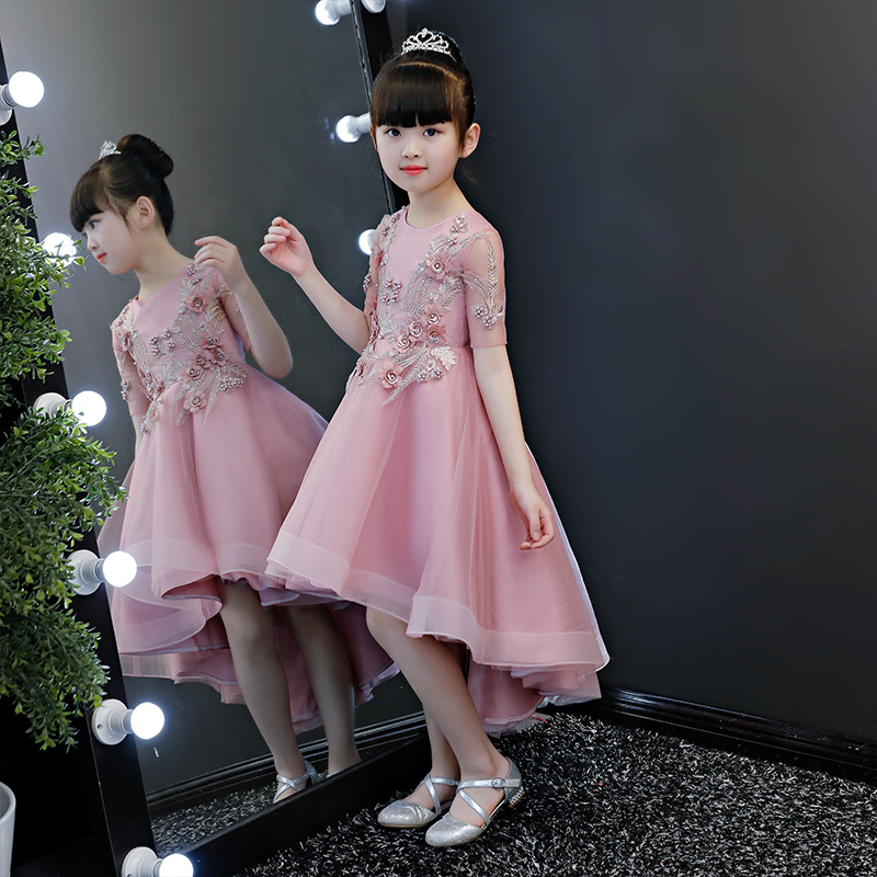 2018 autumn lovely toddler kids baby girls dress hi-lo floral lace dress beading floral wedding party pageant prom dresses floral lace mesh night dress