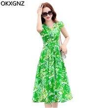 OKXGNZ Korea Fashion Women's Dress 2017 New Costume Print Chiffon Dress V-Neck Short Sleeve Sexy Long Dress Slim Plus Size A207