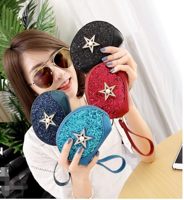 Five-pointed Star Pearl Sequins Small Coin Wallet Coin purse monederos para mujer monedas cat purse