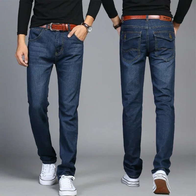 Mid waist regular Men Jeans zipper pants luxury famous brand classic european fashion straight For Mens plus size 28-38